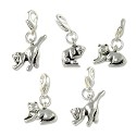 Cat Charms Set (5-Pcs) with Clasp Silver Plated