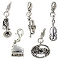 Music Charms Set (5-Pcs) with Clasp Silver Plated
