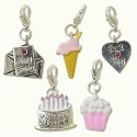 Birthday Charms Set (5-Pcs) with Clasp Silver Plated