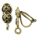 Earring Clip-On 17x7mm Pewter Antique Gold Plated (1-Pc)