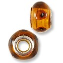Large Hole Lampwork Glass Bead 13x8mm Amber with Brown Dots (1-Pc)