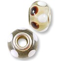 Large Hole Lampwork Glass Bead 13x8mm Clear with Brown Dots (1-Pc)