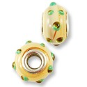 Large Hole Lampwork Glass Bead 13x8mm Tan Swirl with Mint Green Dots (1-Pc)