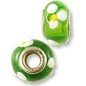 Large Hole Lampwork Glass Bead 13x8mm Green with White and Yellow Flowers (1-Pc)