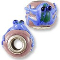 Large Hole Lampwork Glass Beads 13x8mm Mauve with Blue Frog (1-Pc)