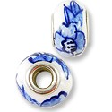Large Hole Lampwork Glass Bead 13x8mm White with Cobalt Flowers (1-Pc)