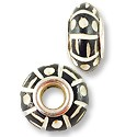 Large Hole Carved Bone Bead 15x8mm White Stripes and Dots on Brown (1-Pc)