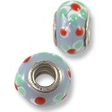 Large Hole Lampwork Glass Bead 10x14mm Lavender/Green/White Flower (1-Pc)