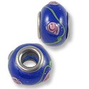Large Hole Lampwork Glass Bead 10x14mm Cobalt/Pink Rose (1-Pc)