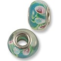 Large Hole Lampwork Glass Bead 9x14mm Turquoise/Light Blue Rose (1-Pc)