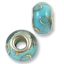 Large Hole Lampwork Glass Bead 8x13mm Light Blue/Tan Swirl (1-Pc)