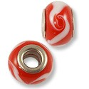 Large Hole Lampwork Glass Bead 9x14mm Red/White Flower (1-Pc)