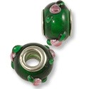Large Hole Lampwork Glass Bead 9x14mm Green/Pink Rose (1-Pc)