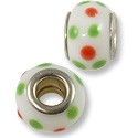 Large Hole Lampwork Glass Bead 9x14mm White/Red/Green Dots (1-Pc)