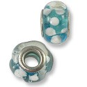 Large Hole Lampwork Glass Bead 10x14mm Aquamarine/White (1-Pc)