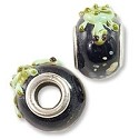 Large Hole Lampwork Glass Bead 10x15mm Black with Green Turtle and Tan Dots (1-Pc)