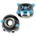 Large Hole Lampwork Glass Bead 12x14mm Black, Blue and White Monster Face (1-Pc)