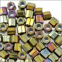 Miyuki Delica Seed Bead Hex Cut 8/0 Metallic Nickel Plated AB (3 Gram Tube)
