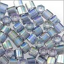 Miyuki Delica Seed Bead Hex Cut 8/0 Transparent Glazed Light Blue AB (3 Gram Tube)