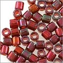 Miyuki Delica Seed Bead 8/0 Transparent Red Gold Luster (3 Gram Tube)