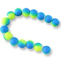 "Neon Glass Beads 10mm Neon Blue/Yellow (16"" Strand)"