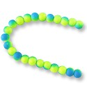 "Neon Glass Beads 6mm Neon Blue/Yellow (16"" Strand)"