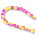 "Neon Glass Beads 6mm Purple/Yellow (16"" Strand)"