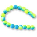 "Neon Glass Beads 8mm Neon Blue/Yellow (16"" Strand)"