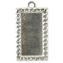 Rectangle Picture Frame 34mmx18mm Pewter Antique Silver Plated (1-Pc)