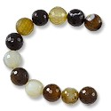 "Faceted Banded Agate Beads Black/Gold 10mm (16"" Strand)"