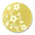 "Lillypilly Aluminum Blank Round 1"" Flower Sprig Gold 22ga"