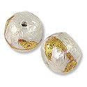 Laminated Capiz Shell Bead Round 15mm Gold Leaf Vine Design (1-Pc)