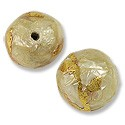 Laminated Capiz Shell Bead Round 15mm Amber with Gold Leaf Vine Design (1-Pc)
