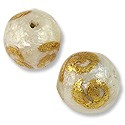 Laminated Capiz Shell Bead Round 15mm Gold Leaf Coil Design (1-Pc)