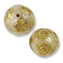 Laminated Capiz Shell Bead Round 15mm Amber with Gold Leaf Coil Design (1-Pc)
