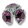 Swarovski Chaton Bead Cap Sterling Plated 7mm Amethyst (4-Pcs)