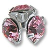 Swarovski Chaton Bead Cap Sterling Plated 7mm Light Rose (4-Pcs)