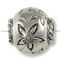 Bead Large Hole Flower 12x13mm Antique Silver Plated (1-Pc)