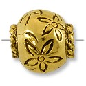 Bead Large Hole Flower 12x13mm Antique Gold Plated (1-Pc)