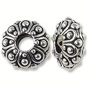 Bead Casbah Large Hole 12x5mm Pewter Antique Silver Plated (1-Pc)