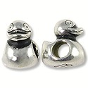 Bead Duck Large Hole 12x9mm Pewter Antique Silver Plated (1-Pc)