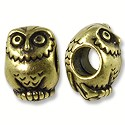 Bead Owl Large Hole 12x8mm Pewter Antique Brass Plated (1-Pc)