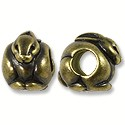 Bead Rabbit Large Hole 11x8mm Pewter Antique Brass Plated (1-Pc)