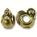 Bead Rooster Large Hole 11x8mm Pewter Antique Brass Plated (1-Pc)