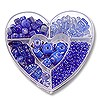 Bead Kit Heart Assorted Blues (1-Pc)