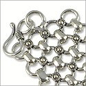 "Four Row Link Bracelet 8"" Antique Silver Plated"