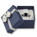 Blue Jewelry Ring Box with Silver Bow (Dozen)