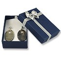 Blue Large Earring Box with Silver Bow (Dozen)