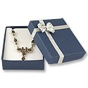 Blue Pendant or Earring Box with Silver Bow (Dozen)