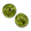Laminated Crushed Abalone Bead Round 15mm Green (1-Pc)